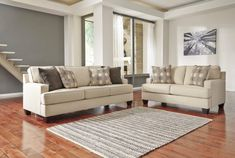 """2 pc Brielyn collection linen fabric upholstered sofa and love seat set with squared arms. This set includes the Sofa and Love seat featuring squared arms. Sofa measures 91"""" x 37"""" x 39"""" H. Love seat measures 61"""" x 37"""" x 39"""" H. Optional chair and ottoman also available separately. Some assembly may be required."""