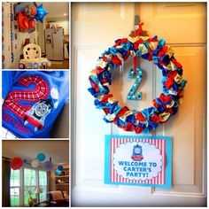 Thomas the Train birthday party-balloon wreath, high chair decorations, birthday shirt, ceiling decorations
