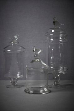 Glass Swallow Confection Jars from BHLDN, thoughts? @Clara LeFever & @Caley Goins?