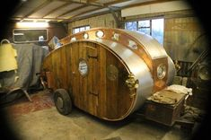 The craftsmanship of this steampunk teardrop trailer is awe-inspiring. What a beautiful piece of functional equipment to travel in style! Custom Trailers, Tiny Trailers, Vintage Trailers, Camper Trailers, Travel Trailers, Custom Campers, Rv Campers, Happy Campers, Teardrop Camping