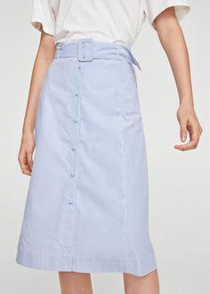 Belt midi skirt -  Women | MANGO USA