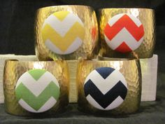Chevron Medallion Hammered Cuff Bracelets  New by savannahjacks, $38.00 fall bracelet jewelry zig zag colorful trendy wholesale red orange yellow green navy turquoise pink black gray