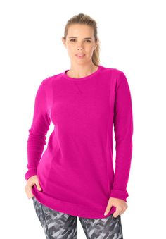 A fashionable layer that lets you socialize with confidence after your workout, our plus size sweatshirt is also ideal for your power walk or run. Breezy and moisture wicking in versatile colors, this tunic length top is an active must have. #BEPOWERFULL #plussizeactivewear