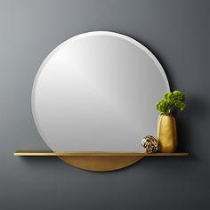 Perch Round Mirror with Shelf 36 Large Round Mirror, Round Wall Mirror, Mirror Set, Round Mirrors, Wall Mirror With Shelf, Round Shelf, Mirror Glass, Sunburst Mirror, Round Frame