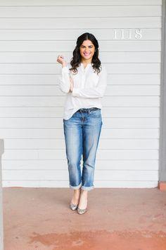 Spring outfit! White chiffon blouse, Gap boyfriend jeans, Kate Spade glitter heels.