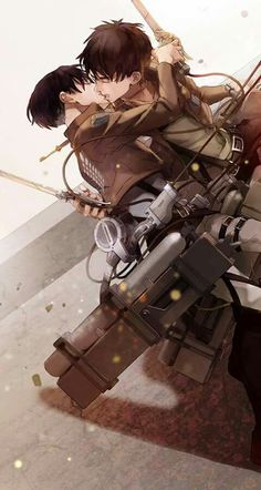 Attack on titan,shingeki no kyojin Levi ackerman,eren jaeger Ereri Ereri, Eren E Levi, Attack On Titan Eren, Attack On Titan Ships, M Anime, Fanarts Anime, Anime Kawaii, Anime Guys, Yuri Anime