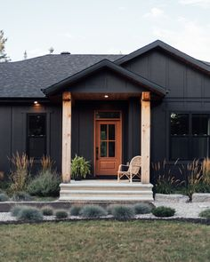 James Hardie Midnight Black Siding James Hardie Midnight Black Siding James Hardie Midnight Black Siding James Hardie Midnight Black Siding James Hardie Midnight Black Siding James Hardie Midnight Black Siding #JamesHardieMidnight #BlackSiding #Hardie #HardieMidnight #Siding Hall Wallpaper, Rustic Staircase, Simple Floor Plans, Small Bungalow, Vintage Dining Chairs, Door Paint Colors, Open Concept Kitchen, Visual Comfort, Coastal Homes