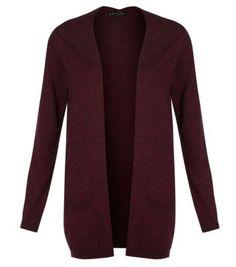 Burgundy Longline Knitted Cardigan