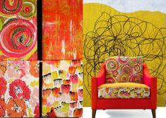 Tissu ameublement Lalie Design pinceau et boreale