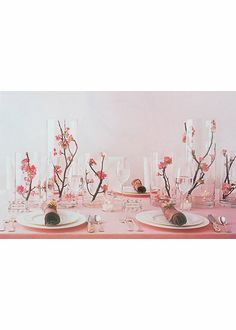 """Pink: Quince Blossom Centerpieces...love this idea for the """"sprinkle"""" (hint hint).   Very funny Emily......."""
