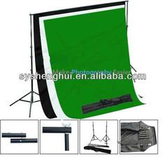 1x Muslin Backdrop Support Stand  3x Muslin Backdrops (White, Black,  Green)  4x Photography Muslin Backdrop Clamps  1x Heavy D