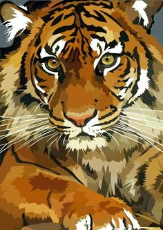 Awesome tiger by elviraNL on DeviantArt - digital drawing of a Tiger color separation Tiger Drawing, Tiger Painting, Tiger Art, Tiger Sketch, Animal Paintings, Animal Drawings, Art Drawings, Pop Art, Art Africain