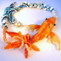 RESERVED Kanagawa Koi II - Sculptural Beadwoven Koi Necklace with Pearls a Plenty. $300.00, via Etsy.