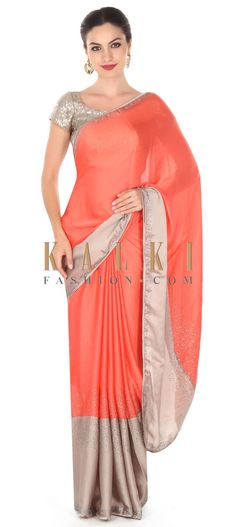 Buy this Peach and grey saree adorn in kundan embroidery only on Kalki