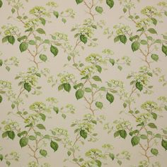 COLEFAX & FOWLER ENGLISH Country Hydrangeas Linen Fabric 10 Yards Green Beige Multi