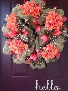 Beautiful Burlap with Coral Hydrangea Deco by BeccasFrontDoorDecor