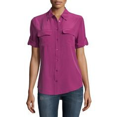 Equipment Slim Signature Short-Sleeve Silk Blouse ($74) ❤ liked on Polyvore featuring tops, blouses, malbec, button front tops, short sleeve silk top, equipment tops, short sleeve silk blouse and short sleeve tops