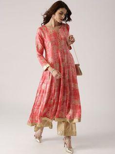 Libas Women's #Pink Printed #Anarkali #Kurti #FestiveLook