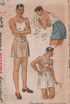 MOMSPatterns Vintage Sewing Patterns - Simplicity 1960 Vintage 40's Sewing Pattern FANTASTIC Retro Men's Rockabilly Button Fly Front, Yoked, Wide Seat Boxer Shorts, Skivvies, Underwear