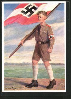 old postcard: Künstler-AK Hitlerjunge in Uniform mit Hakenkreuzfahne