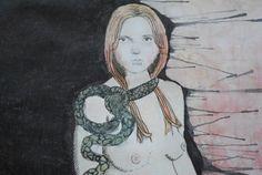 Snake Charmer - original watercolor  by jillpetersenart on Etsy