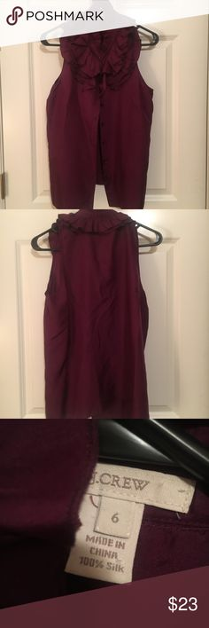 JCrew silk, sleeveless top JCrew beautiful wine color sleeveless shirt in a silk material.  Eye catching collar.  Excellent condition Tops Button Down Shirts