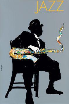 Finn Nygaard - Poster for the Aarhus International Jazz Festival, 1992. A tribute to Ben Webster. Jazz Festival, Festival Posters, Concert Posters, Free Jazz, Jazz Poster, Jazz Art, Jazz Club, Jazz Musicians, Blue Art