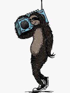 'Retro Funky Sloth' Sticker by Diardo Old School Radio, Retro Pop, Cool Stickers, Sell Your Art, Sticker Design, Sloth, Pop Culture, Artsy, Drawings