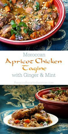 Apricot Chicken Tagine with Ginger & Mint is an exotic, warmly spiced stew that is easy to prepare, family-friendly, and oh so delicious! Morrocan Food, Moroccan Dishes, Moroccan Recipes, Tagine Cooking, Apricot Chicken, Tandoori Masala, Tagine Recipes, Cooking Recipes, Healthy Recipes