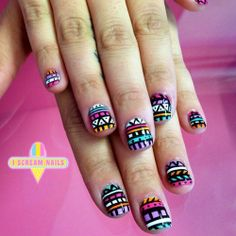 Bright colored tribal nail art!