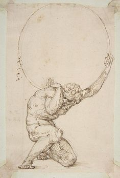 "Art Department - Crouching Figure of Atlas Baldassare Tommaso Peruzzi (Italian, Ancaiano Rome); On verso, annotated in pen and brown ink, by the hand usually identified with the ""Borghese Sagredo"" album (Zaccaria Sagredo? Life Drawing, Figure Drawing, Art Sketches, Art Drawings, Renaissance Kunst, Portrait Renaissance, Italian Renaissance, Art Du Croquis, Art Inspo"