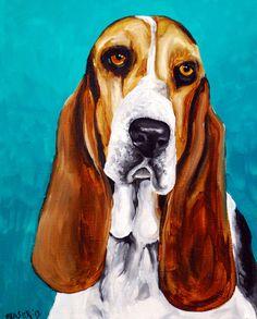 Basset Hound Dog Print INSTANT DOWNLOAD original by RMBArtStudio