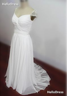 Cap Sleeves with Pearls Ruched Bridal Dress White Prom Gown on Storenvy