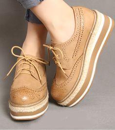 Para Mujeres con cordones Altas Plataforma Cuña Tacón Cuero Calado Creepers Zapatos Oxford bombas Siz | Clothes, Shoes & Accessories, Women's Shoes, Flats | eBay!