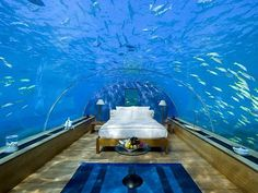 Underwater Bedroom Suite in Maldives have always had a fascination with underwater rooms, and the latest one we stumbled across blew our minds. This stunning underwater bedroom suite is located at the Conrad Maldives Rangali Island in the Indian Ocean. Chalet Zermatt, Ski Chalet, Hotel Subaquático, Hotel Suites, Bad Hotel, Hotel Amenities, Hotel Stay, Hotel Deals, Dream Vacations