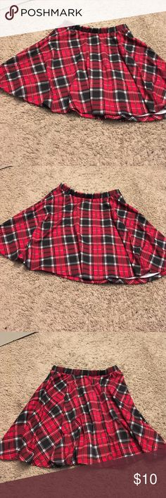 Sexy red, black, and white plaid mini skirt This Sexy red, black, and white plaid mini skirt is perfect. Rather you are going to a concert being sassy at school or just hanging with friends. This plaid skirt is firm fitting on the waist bands and stitched perfectly on the hem of the bottom of the skirt. other Skirts Mini