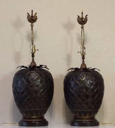 Pair of John Richard Brass Table Lamps #Tropical #JohnRichard