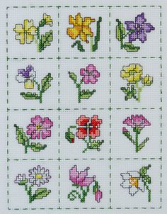Stitch this set of twelve mini floral motifs to celebrate the year in flowers With a running stitch border and cheerful colours it will brighten up