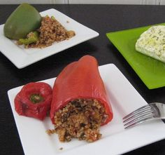Stuffed Bell Peppers with Bulgur & Basil - Piperies Yemistes me Pligouri