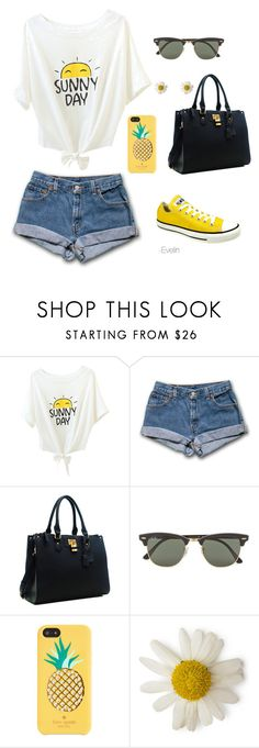 Evelin❤️ by evelinnnn on Polyvore featuring moda, Kate Spade, Ray-Ban and Converse