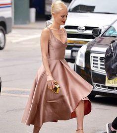 Blush beauty: shop @katebosworth's rosey @jasonwu dress now on 3. #streetstyle [photo @the_fashion_inspo]