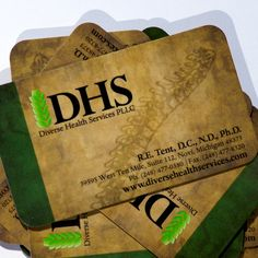 Business Card Design and Printing for Diverse Health Services. This card is 16pt Spot UV on Silk Lamination.