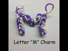 Letter M - Loom Band Charm Click the link below to purchase your own set of 6000 loom bands sold and shipped from Amazon.  http://www.amazon.com/Loom-Bands-Turquoise-Compatible-Individually/dp/B00G8P2T82/ref=sr_1_214?ie=UTF8qid=1403887687sr=8-214keywords=loom+bands You can download a pattern with instructions at our website http://RubberBandBracelet.net