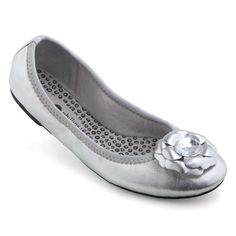 Lindsay Phillips Liz Bright Silver SwitchFlop Womens Ballet Flat Size 6.5