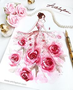 Illustration Life is not a bed of roses, but we can always create our dream through paint brushes ! Dress Design Sketches, Fashion Design Sketchbook, Fashion Design Drawings, Fashion Sketches, Drawing Sketches, Arte Fashion, Paper Fashion, Fashion Fashion, Fashion Drawing Dresses
