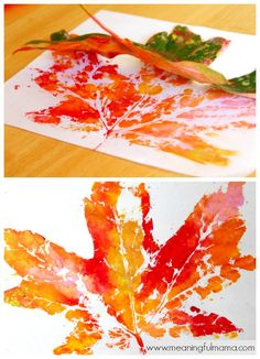 leaf prints fall leaf crafts kids - easy DIY project to create fall inspired art a great idea for home decor