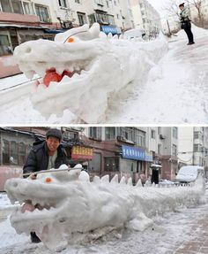 13 Coolest Yard Snow Sculptures - ODDEE...This nine-meter dragon-shaped snow sculpture was made by local residents at a residential compound in Jilin, China. A 66-year-old local man and his neighbors spent more than 10 days turning their district into a snow sculpture park.