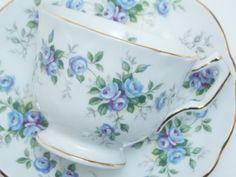 "Aynsley Vintage Fine Bone China Tea Cup and Saucer ""Marine Rose"" Blue Roses Gold Trim"
