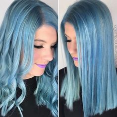 WEBSTA @ hotonbeauty - 💙 Curly or straight? 💙 Hair by the talented @stylistricardosantiago Makeup @wifeofastylist 👄 #repost #hotforbeauty....#bluehair #bluehaircolor #hairpainting #springhair #springhaircolor #springhairtrends