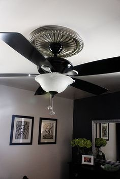 Before and after outdated ceiling fan painted an updated with ceiling molding and spray paint to dress up a once ugly ceiling fan aloadofball Gallery